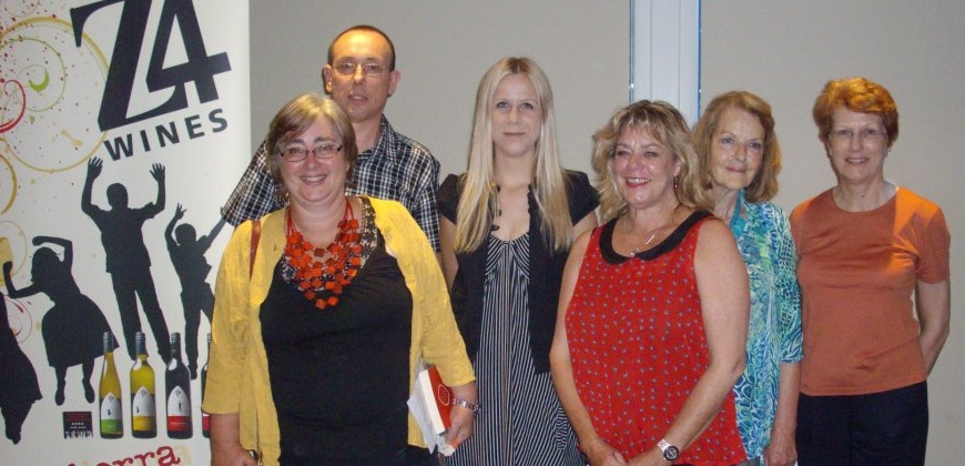 The winning and shortlisted authors (L-R): Fiona Hamer, Nigel Featherstone, Irma Gold, Tracey Hawkins, Hazel Hall, Ann Villiers. Photo courtesy of the ACT Writers Centre.