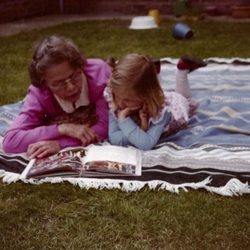 Grandma and Irma reading