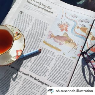 """Posted @withregram • @oh.susannah.illustration The best way to enjoy a cup of tea is to accompany it with a beautiful review of your new book.   """"There is pathos, sentiment, adventure, danger and solace in this charming book about the strength of friendship and the power of kindness and caring.""""  Thank you @stephanieowenreeder and @canberratimes - what a great list of books to be included on, and what lovely things you said about my illustrations 💚  @irma.gold @ekbooksforkids  #kidsbookreview #picturebookreview #bookreview #review #wheretheheartis #dindimthepenguin #supportlocalauthors #supportlocalillustrators #penguin #environment #childrensbooks #childrensbookillustrator #kidlitillustration #kidlit #ekbooks #canberrakids #canberratimes #newspaper #panorama #wheretheheartis @ekbooksforkids #picturebook #picturebooks #picturebooksofinstagram #picturebooksaremyjam #kidsbooks #kidsofinstagram #reading #kidsbooksofinstagram #penguin #penguins #riodejaneiro #brazil"""