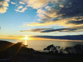Morning from my hotel balcony in Tathra for the Headland writers festival. Up early to do ABC radio. Now, where's the coffee...   #headlandwritersfestival #tathra #sunrise #cloudscape #oceanview #beachlife @abcsoutheast